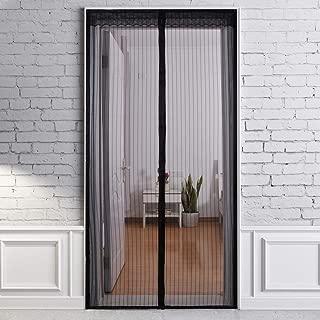 Magnetic Screen Door, Screen Door with Magnets Mesh Curtain and Full Frame Hook&Loop Fits Doors up to 39 x 82-Inch, Black