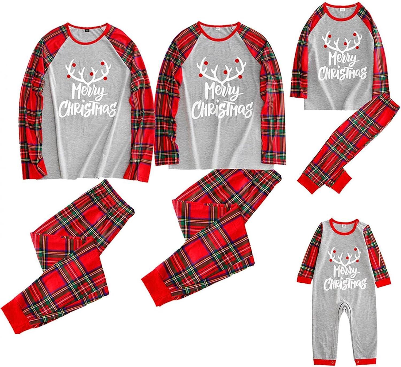 Christmas Pajamas for Family, Christmas Matching Outfits Long Sleeve Red Plaid Print Tops Pants Pjs Sleepwear Sets