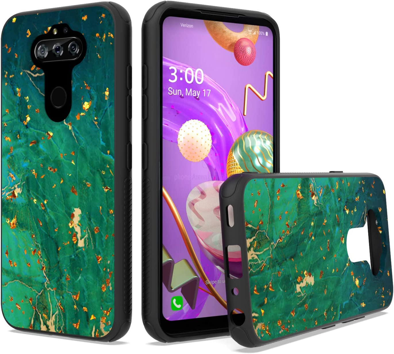 UNC Pro Cell Phone Case for LG Aristo 5 / Aristo 5 Plus + / K31 / Phoenix 5/ Fortune 3 / Tribute Monarch / K8x / Risio 4, Emerald Marble Gold Foil Embedded TPU Hybrid Case, Shockproof Bumper Cover