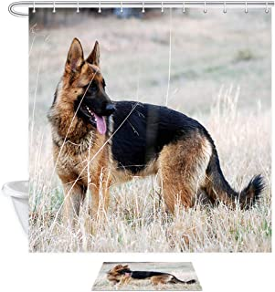 German Shepherd Shower Curtain Set, German Black-Backed Collie Playing In The Park In Autumn Waterproof Polyester Fabric Shower Curtain (69
