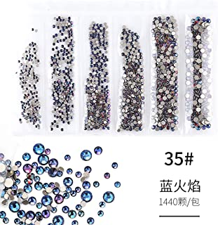 JYS Nail Art Crystals Rhinestones Round Beads Flatback Glass Charms Gems Stones - Nail Art Flat Back Rhinestones Gems Mixed Nail Diamond Stone for Nail Art Clothes Shoes Bags Crafts