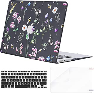 MOSISO MacBook Air 13 inch Case (A1369 & A1466, Older Version 2010-2017 Release), Plastic Pattern Hard Case&Keyboard Cover&Screen Protector Only Compatible with MacBook Air 13, Black Bee & Floral