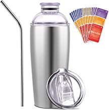 Cocktail Shaker and Tumbler with 30 Cocktail Recipes Cards, SUQQUER 24oz Triple-Insulated Stainless Steel Bar Set Cocktail...