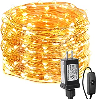 LE Fairy Lights with Switch, 66ft 200 LED, Plug in, Waterproof, Warm White, Indoor Outdoor Decorative Copper String Light for Bedroom Wall, Patio, Party, Wedding Centerpieces, Dorm Room Décor and More