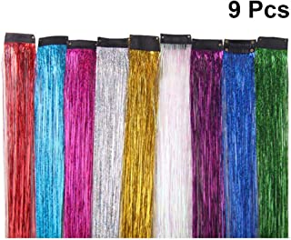 Minkissy 9pcs Colored Clip in Hair Extensions Dazzle Colour Fiber Straight Fake Synthetic Hair Pieces for Party Highlights...