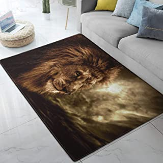 Area Rug Lion Large Floor Mat for Living Dining Dorm Playing Room Bedroom 5' x 6.6'