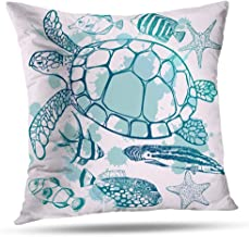 Hdmly Turtle Pillow Cover,Turtle Pillow Case, 18x18 Inch Decorative Throw Pillow Cover Cushion Cover Tropical Fish Sea Turtle Marine Ocean Sea Pillow Case for Bed Standard Pillowcase,Blue Sea Turtle