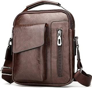 PU Leather Messenger Bag, Men Fashion Shoulder Messenger Bag Durable Wear Resistant Casual Business Crossbody Multipurpose Sling Bag for Business Travel (Color : Khaki)