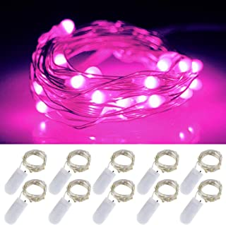LXS Battery Operated Fairy Lights 10 Sets of 2M /20 LED,Amazingly Bright - Ultra-Thin Flexible Easy to Wrap Silver Wire for Valentine's Day Wedding Party,Fairy Light Effect(10PCS-Pink)
