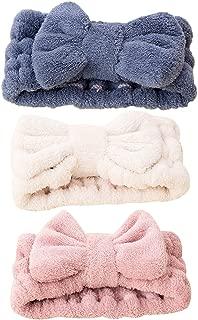Frcolor Bowknot Hair Bands Elastic Coral Velvet Make-up Face Wash Shower Headband for Women Girl 3Pcs (Blue Pink White)