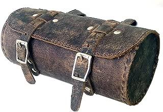 Leather saddle bag vintage retro distressed look genuine grain leather handlebar seatpost