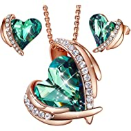 """CDE """"Pink Angel 18K Rose Gold Jewelry Set Women Heart Pendant Necklaces and Stud Earrings Sets..."""