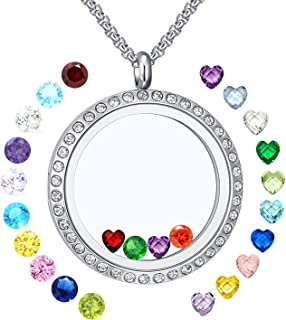 XingYue Jewelry Family Tree of Life Floating Living Memory Love Heart Locket CZ Necklace All 12 Heart Birthstones Include