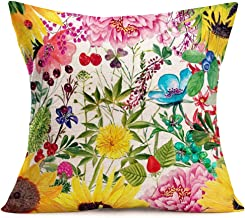 Hopyeer Throw Pillow Cover Vintage Rustic French Flower Floral Sunflower Poppies Peonies Bloom Cotton Linen Pillow Case Square Decor Cushion Cover for Sofa Car Pillowcase 18x18 Colorful(FT-Floral)