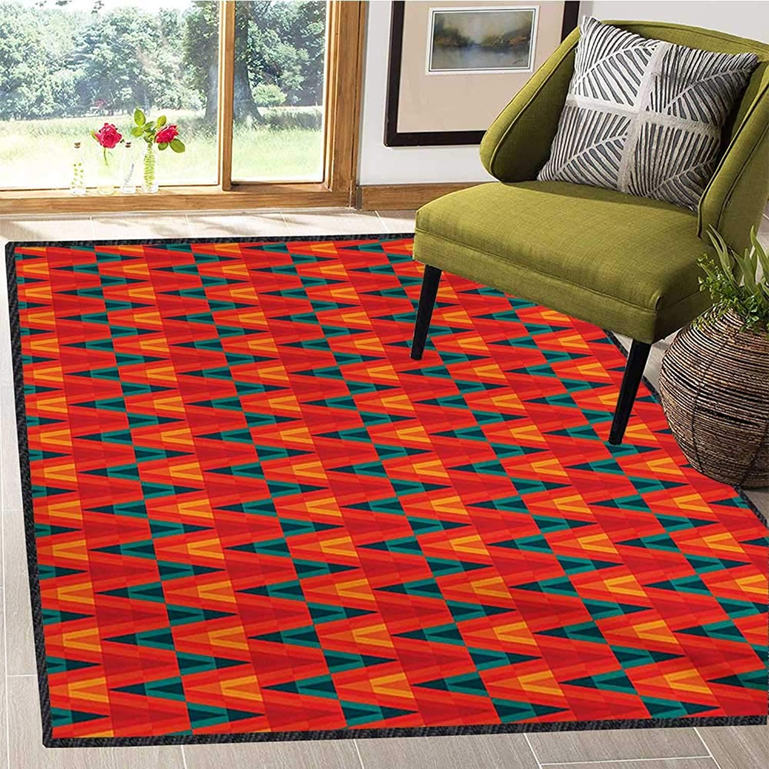 Ethnic, Floor Mat for Kids, Aztec Culture Inspired Chevron Zigzags and Triangles Vintage Tribal Motifs, Door Mats for Inside Non Slip Backing 5x6 Ft Scarlet Ruby Teal