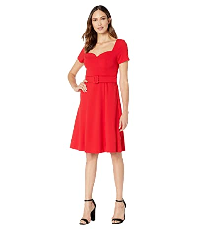 Donna Morgan Short Sleeve Open Neck Full Skirt Crepe Dress (Red/Red) Women