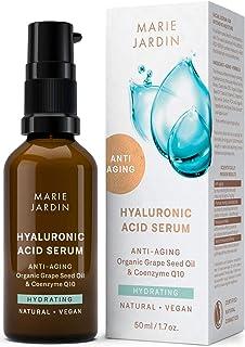 Serum de ácido hialurónico - BIO Serum facial con vitamina C y Q10 - Efecto antiarrugas para el contorno de ojos base pa...