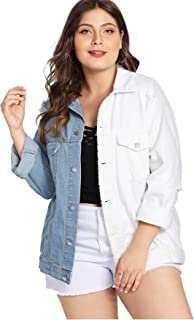 83141831741e7f Milumia Women Plus Size Denim Ripped Jackets Blue White Color Block  Contrast Casual Long Sleeves Pockets