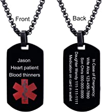 LMXXV Free Engraving-Quality Stainless Steel Medical Alert ID Dog Tag Pendant Necklace for Men Women,24