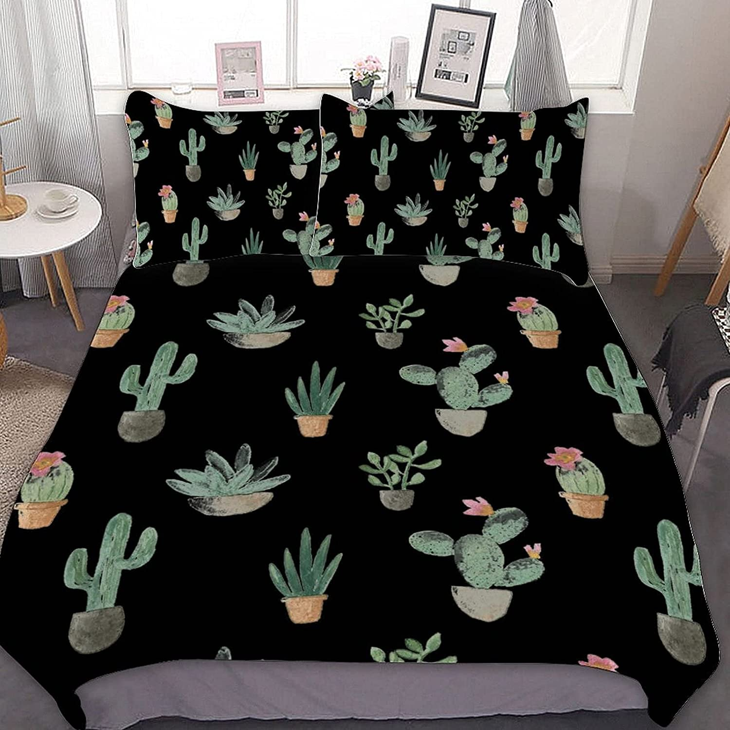 Time sale Cacti Colorado Springs Mall Collection 3-Piece Microfiber Bedding Soft with Set Protec