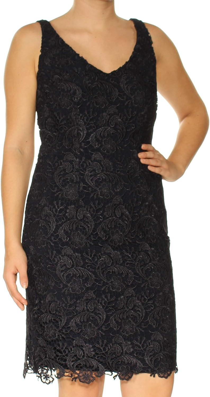 Ralph Lauren Womens Lace A-line Dress, Blue, 4