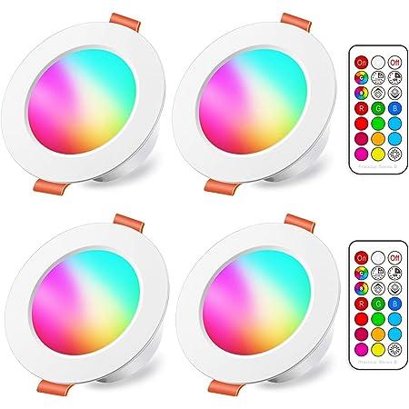 Spots LED Encastré 8W (équivalent 60W) Couleur RGB Changement Variation Coloré RGBW IP44 Blanc froid 5700K Rond Dimmable Encastrables par Télécommande (lot de 4)