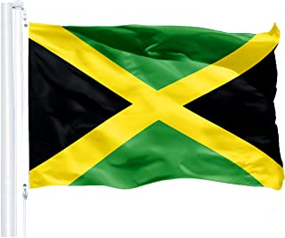 Best G128 – Jamaica (Jamaican) Flag   3x5 feet   Printed 150D – Indoor/Outdoor, Vibrant Colors, Brass Grommets, Quality Polyester, Much Thicker More Durable Than 100D 75D Polyester Reviews