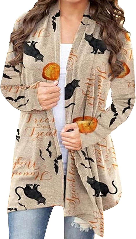 Women Halloween Long Sleeve Open Front Cardigan Funny Cat Pumpkin Print Open Front Knit Sweaters Overwear Coat