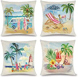 Summer Beach Pillow Covers Hawaii Tropical Decorative Throw Pillows Coconut Palm Tree Nautical Cushion Case for Home Décor Outdoor Patio Couch, 18x18 inch Set of 4