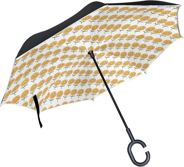 Double Layer Ingreened Sunflower Sunflower Wrap Sunflower Umbrellas Reverse Folding Umbrella Windproof Uv Predection Big Straight Umbrella for Car Rain Outdoor with CShaped Handle