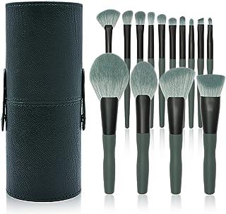 Make-up kwasten, set van 14 make-up kwasten Schoonheidstools Houten handvat Schoonheidsborstel Banaan groen Geschikt voor ...