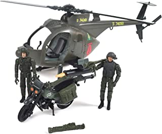 Elite Force Army Strike MH-6 Spec Ops Little Bird Toy Helicopter with Motorcycle & Premium Action Figure