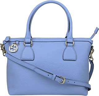 6657fda0ec45 Gucci GG Charm Powder Blue Leather Medium Convertible Straight Bag With  Strap 449659 4503