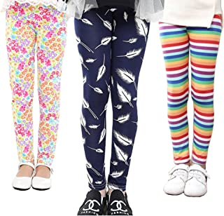 MarJunSep 3 Packs Girls Leggings Pants Stretch Printing Flower Toddler Leggings Kids