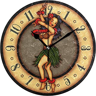 MIKAヴィンテージ 入れ墨 芸術 フラ ダンサー 掛け時計 置き時計 兼用 インテリア 連続秒針 壁掛け時計 静音 寝室 部屋 壁掛時計 おしゃれ 25cm 掛時計