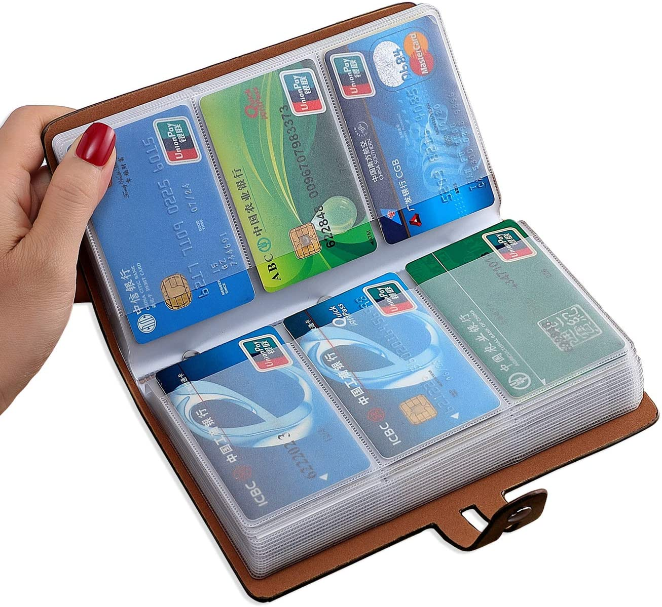 RFID Credit Card Holder, Leather Business Card Organizer with 96 Card Slots, Credit Card Protector for Managing Your Different Cards and Important Documents to Prevent Loss or Damage (Brown)