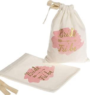 "Ling's Moment 10pcs 5""x7"" Gold Foil Bride Tribe Bridesmaid Favor Bag for Wedding Bridal Shower Bride to Be Favor Bags"