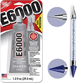 Bundle - E6000 1.0 Ounce (29.5mL) Tube with Precision Tips Industrial Strength Adhesive for Crafting and Pixiss 6-inch Jewel Picker Setter Pickup Tool - Wax Pencil Rhinestone Applicator Kit