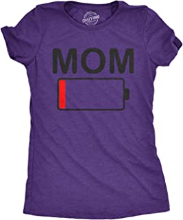 Womens Mom Battery Low Funny Empty Tired Parenting Mother T Shirt