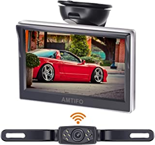 Amtifo Wireless Backup Camera AM-W50 with 5 Inch Monitor License Plate Camera for Cars,SUVs,Minivans Rear View Camera Crystal Clear Image IP69 Waterproof Super Night Vision,