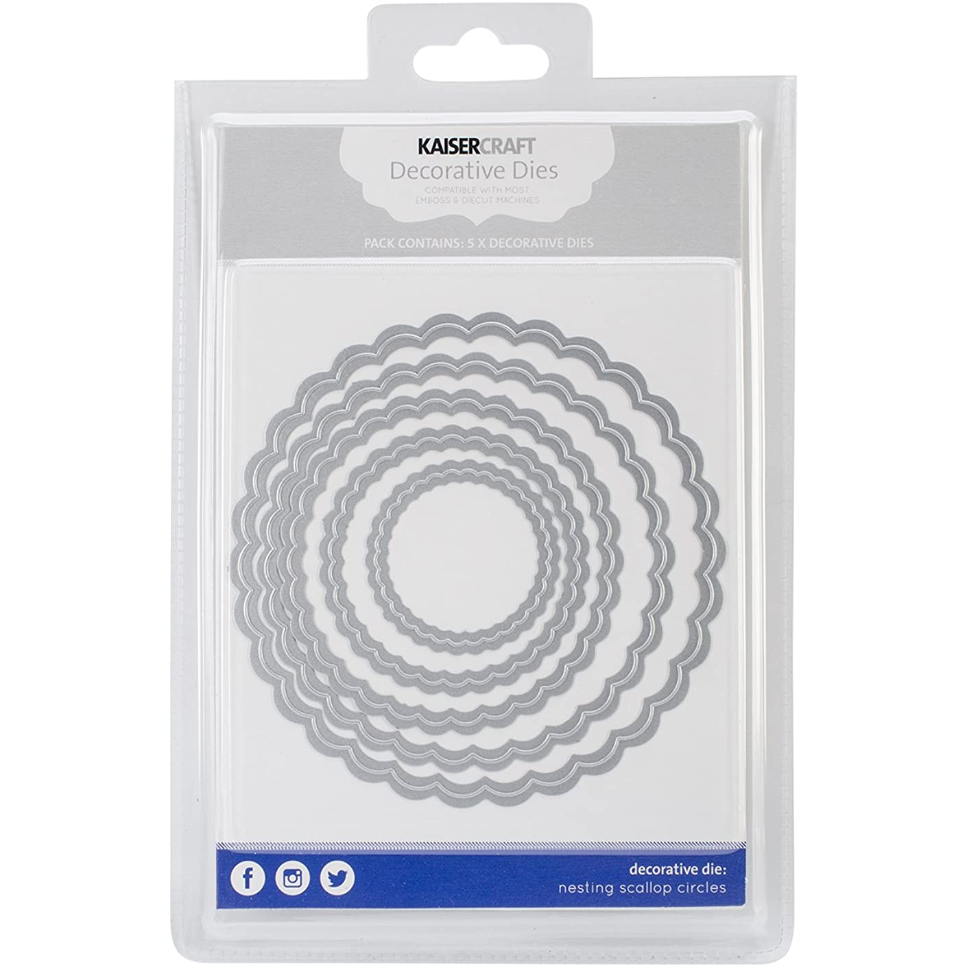 Kaisercraft Nesting Dies-Scallop Circles, 1.75 by 1.75-Inch to 4.75 by 4.75-Inch