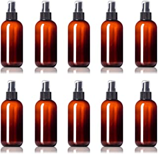 24 Empty Plastic Mist Spray Bottles- Reusable PET Boston Round Squeeze for Home & Beauty Products ● BPA-Free ● 24 Pc Value Pack (8 oz, Amber Brown)