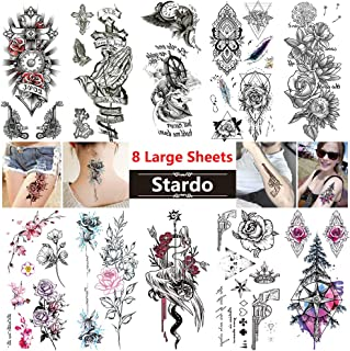 Large Temporary Tattoos for Women Men 10 Sheets Realistic Fake Tattoo Stickers Waterproof Body Art Temp Tattoo Paper Sexy Flower Arm Leg Shoulder Back Adult Tattoos Stickers