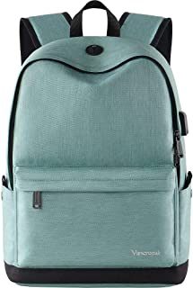 Vancropak Student Bookbag,Durable School Laptop Backpack with USB Charging Port,Travel College Bag for Men Women Boys Girls,Outside Water Resistant Rucksack Designed for 15.6inch Computer Macbook Cyan
