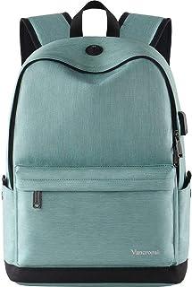 Vancropak Student Bookbag,Durable School Laptop Backpack with USB Charging Port,Travel College Bag for Men Women Boys Girls,Outside Water Resistant Rucksack Designed for 15.6inch Computer Macbook Cyan