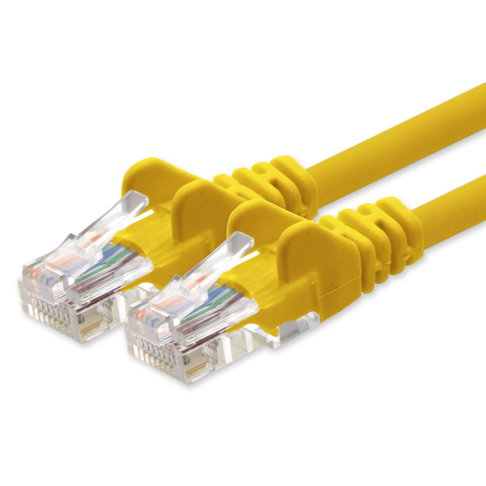 1 aTTack. de Cat 5e Patch Cable Cable de red U/UTP compatible con Cat.5E Cat.5 Cat.6 para router módem Patch Pannel Internet Smart TV Xbox amarillo - 1 unidad 2 m: Amazon.es: