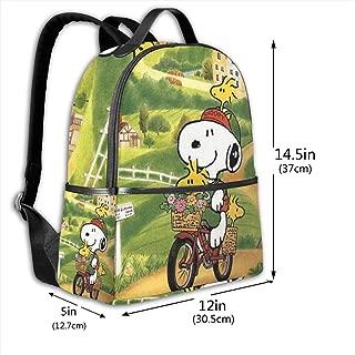 Classic School Backpack Snoopy Ride A Bike Unisex College Schoolbag Travel Bookbag Black