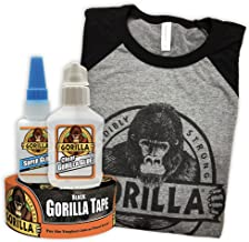 Gorilla Essentials Products including X-Large T-Shirt, Black Duct Tape, Super Glue and Clear Glue