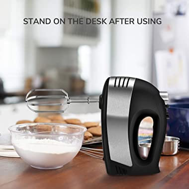 Hand Mixer Electric, Cusinaid 5-Speed Hand Mixer with Turbo Handheld Kitchen Mixer Includes Beaters, Dough Hooks and Storage
