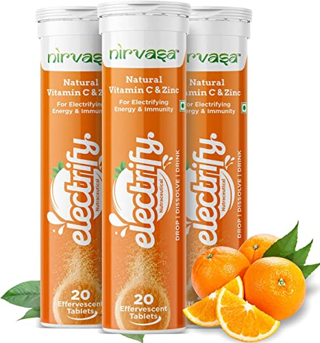 Nirvasa Vitamin C With Zinc Supplements Antioxidant With Natural Extra Charge Double Immunity Booster Skin Care Family pack 60 Effervescent Tablets Orange Flavor Pack of 3